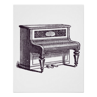 Vintage Upright Piano Poster