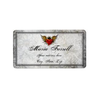 Vintage Urban Tattoo Winged Heart Address Label