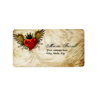 Vintage Urban Tattoo Winged Heart Address Label