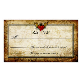 Vintage Urban Tattoo Winged Heart RSVP Cards Double-Sided Standard Business Cards (Pack Of 100)