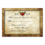 "Vintage Urban Tattoo Winged Heart RSVP Cards 3.5"" X 5"" Invitation Card"