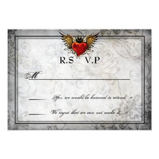 Vintage Urban Tattoo Winged Heart RSVP Cards Custom Invitations