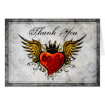 Vintage Urban Tattoo Winged Heart Thank You Cards