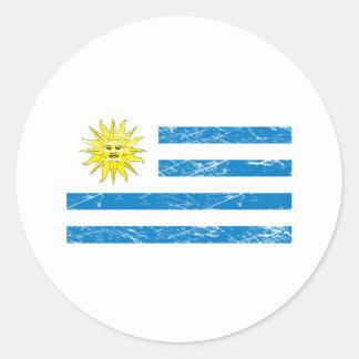 Vintage Uruguay Flag Classic Round Sticker