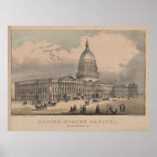 Vintage US Capitol Building Illustration (1872) Poster