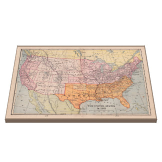 Vintage Usa Map Wrapped Canvas Prints Zazzle - Rustic map of the us in the civil war