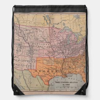 Vintage US Civil War Era Map 1861 Drawstring Bag