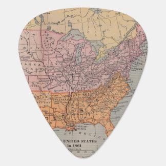 Vintage US Civil War Era Map 1861 Guitar Pick