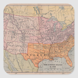 Vintage US Civil War Era Map 1861 Square Sticker
