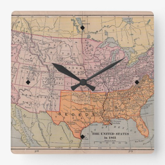 Vintage US Civil War Era Map 1861 Square Wall Clock