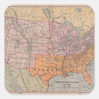 Vintage US Civil War Era Map 1861 Square Stickers