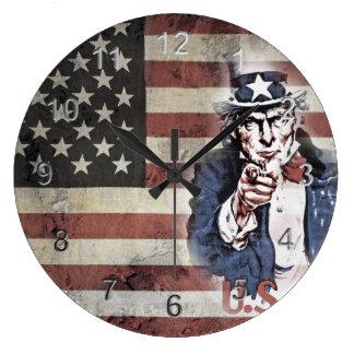 Vintage US Flag and Uncle Sam Large Clock