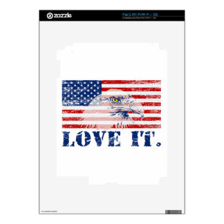 Vintage US Flag & Eagle LOVE IT Decal For The iPad 2