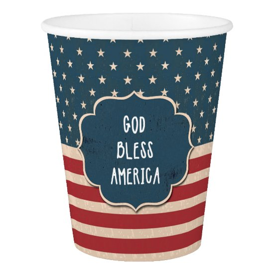Vintage US Flag God Bless America Paper Cups