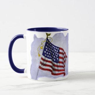 Vintage US Flag in Patriotic Colors Mug