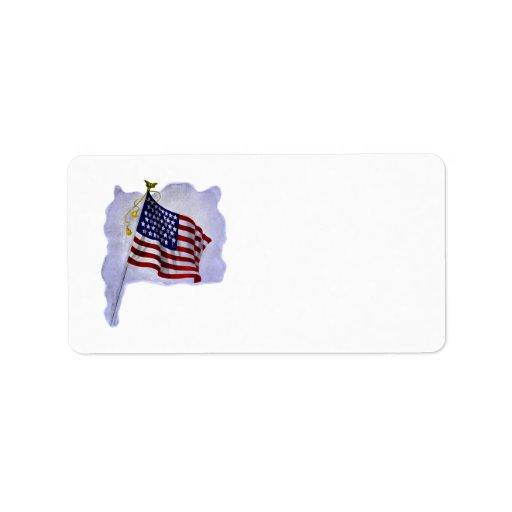 Vintage US Flag in Patriotic Label
