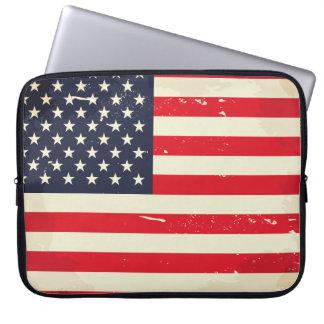 Vintage US Flag Neoprene Laptop Sleeve 15 inch