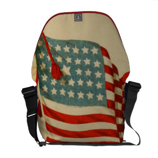 Vintage US Flag Patriotic Courier Bag