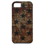 Vintage US flag stars on rusted background iPhone 5 Cases