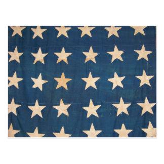 Vintage US Flag Stars Postcard