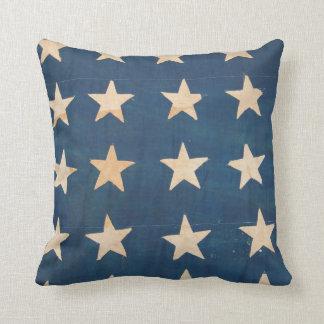 Vintage US Flag Stars Throw Pillows