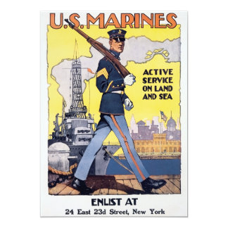 Vintage US Marines Recruiting Poster Card