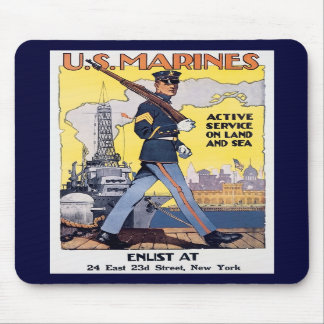 Vintage US Marines Recruiting Poster Mouse Pads