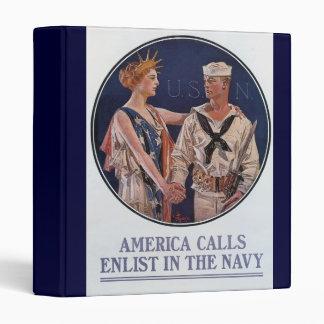 Vintage US Navy America Calls Recruiting poster 3 Ring Binder