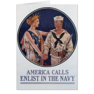 Vintage US Navy America Calls Recruiting poster Card