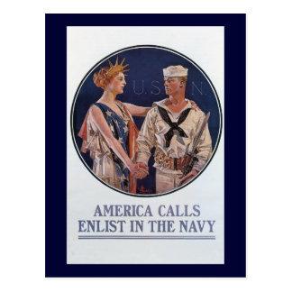 Vintage US Navy America Calls Recruiting poster Postcard