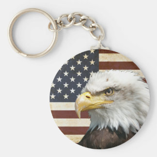 Vintage US USA Flag with American Eagle Keychain