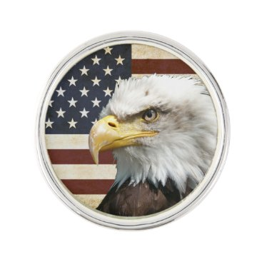 USA Themed Vintage US USA Flag with American Eagle Lapel Pin