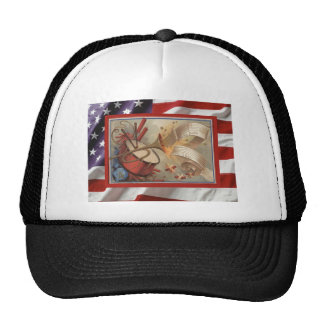 Vintage USA, 4th July, firecrackers Trucker Hat