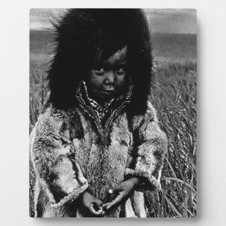 Vintage USA Alaska eskimo boy 1970 Plaque