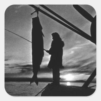 Vintage USA Alaska float plane fishing 1970 Square Sticker