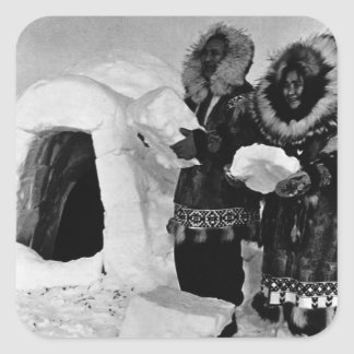 Vintage USA Alaska igloo builders 1970 Square Sticker