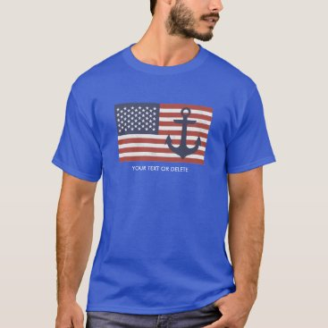 USA Themed Vintage USA American Flag Nautical Anchor Custom T-Shirt
