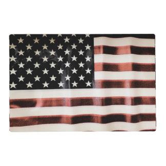 Vintage USA flag custom laminated placemats