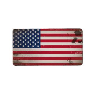Vintage USA Flag Label