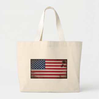 Vintage USA Flag Large Tote Bag