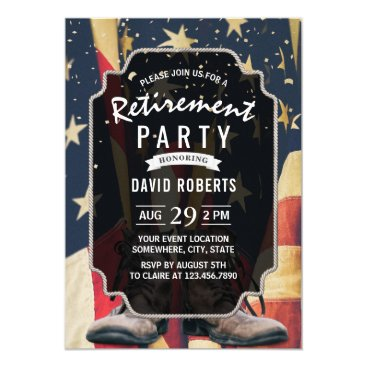 Vintage USA Flag Old Work Boots Retirement Party Invitation