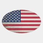 Vintage USA Flag Oval Sticker