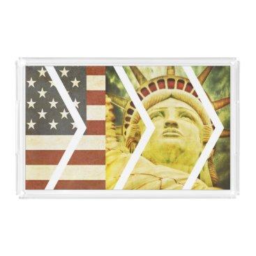 USA Themed Vintage USA Flag Statue of Liberty Chevrons Acrylic Tray