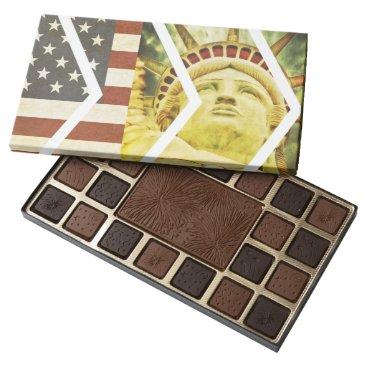 USA Themed Vintage USA Flag Statue of Liberty Chevrons Assorted Chocolates