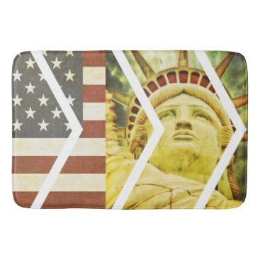 USA Themed Vintage USA Flag Statue of Liberty Chevrons Bath Mat