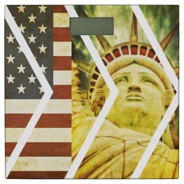 USA Themed Vintage USA Flag Statue of Liberty Chevrons Bathroom Scale