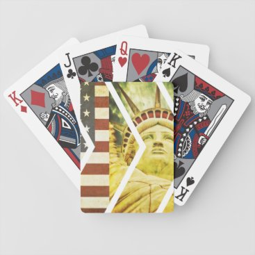 USA Themed Vintage USA Flag Statue of Liberty Chevrons Bicycle Playing Cards