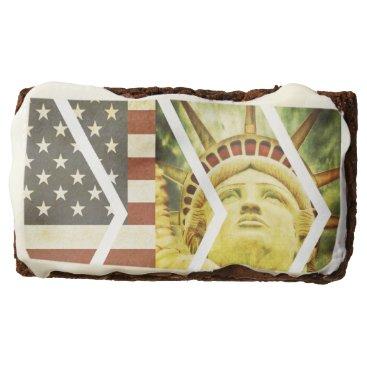 USA Themed Vintage USA Flag Statue of Liberty Chevrons Brownie