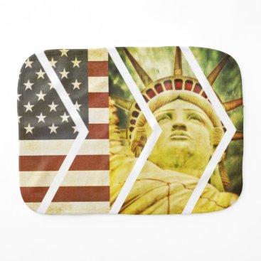 USA Themed Vintage USA Flag Statue of Liberty Chevrons Burp Cloth