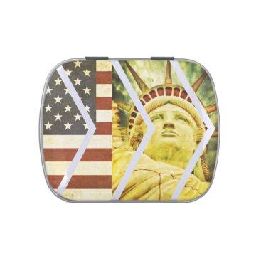 USA Themed Vintage USA Flag Statue of Liberty Chevrons Candy Tin